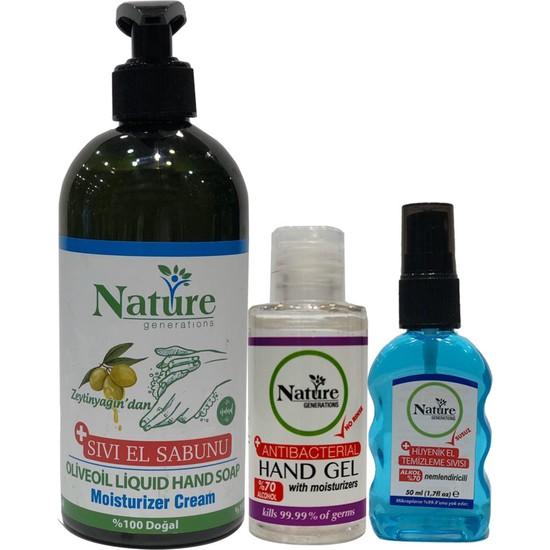Nature Genarations Ipek Naturel Antibakteriyel El Sabun Jel Sprey %70 Alkol Nemlendirici Set