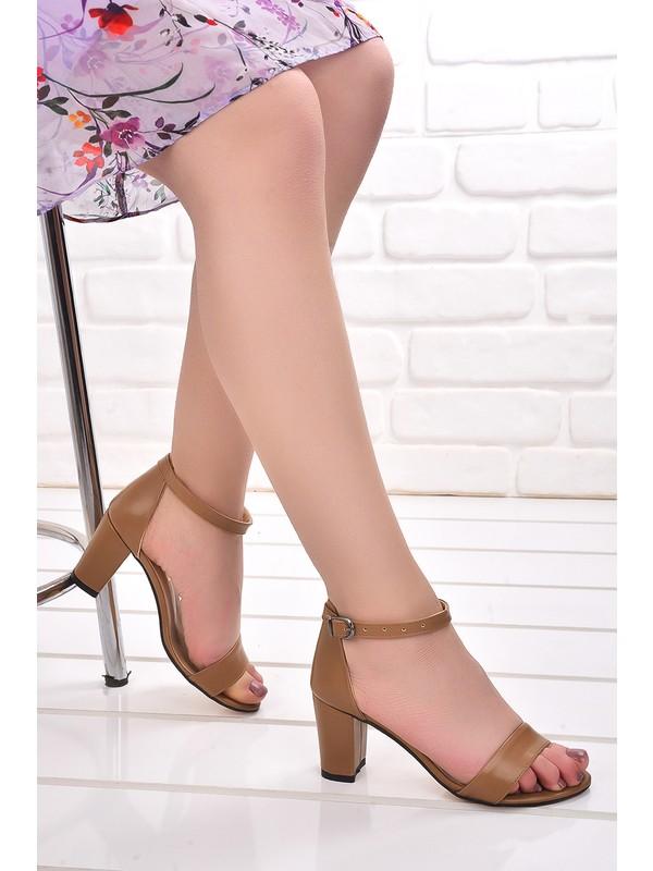 Ayakland Bsm 62 Cilt 7 Cm Topuk Kadın Sandalet Ayakkabı Vizon