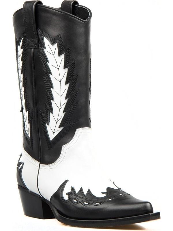 Footcourt Kadin Siyah Beyaz Deri Kovboy Cizmesi Kizil Fiyati