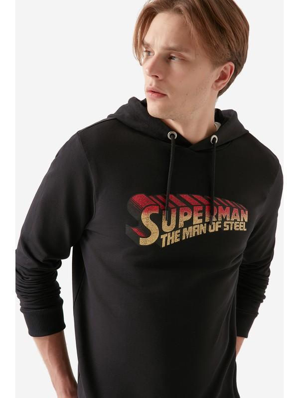 Mavi Erkek Superman Baskılı Kapüşonlu Sweatshirt 066228-900