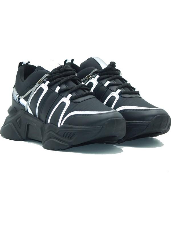 Park Moda Kadın Spor Ayakkabı 252-2043 Sıyah-Platin