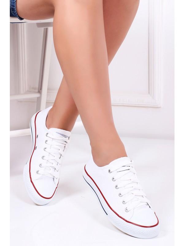 Tarçın Günlük Kadın Beyaz Tekstil Spor Ayakkabı Trc123-0202
