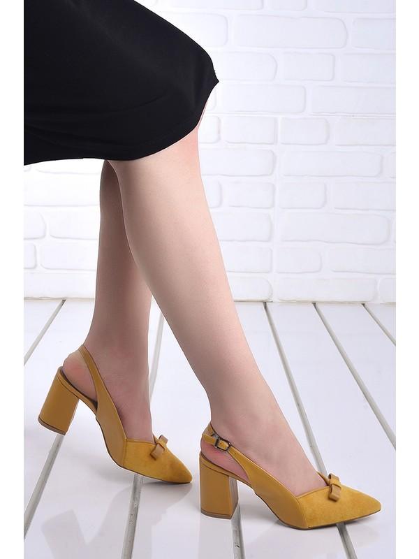 Ayakland 1033 Süet 7 cm Topuk Kadın Topuklu Sandalet Ayakkabı Hardal