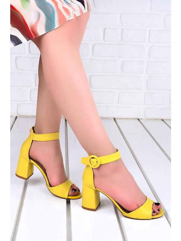 Ayakland 1218 Cilt 7 cm Topuk Kadın Topuklu Sandalet Sarı