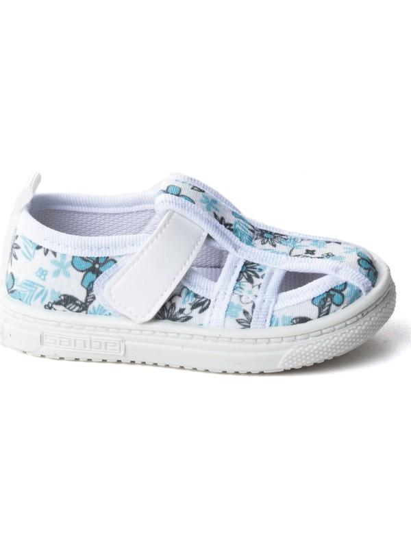 Sanbe 401 R 009 Anatomik Kız Çocuk Keten Ayakkabı Beyaz