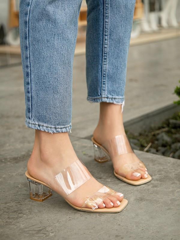 My Poppi Shoes Larin Ten 5 cm Şeffaf Topuklu Kadın Terlik