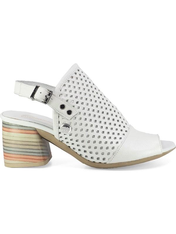 Mammamia D20Ys-1445 Kadın Deri Sandalet Beyaz