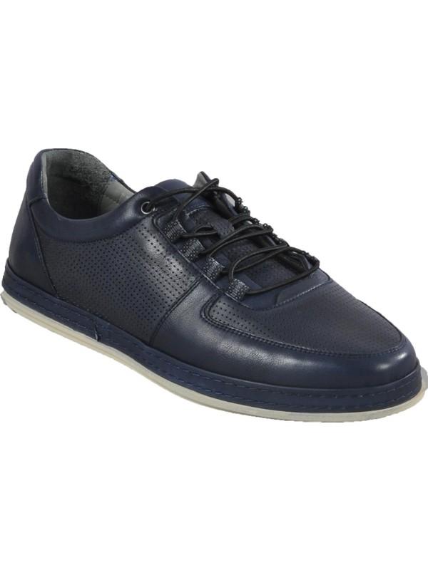 Voyager 4579 Hakiki Deri Lacivert Erkek Günlük Ayakkabı