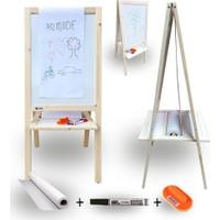Armode Rulo Kağıtlı Çift Taraflı Ayaklı Ahşap Çocuk Yazı Tahtası Beyaz-Beyaz 115 x 50 cm