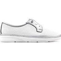 Evida 2687 Hakiki Deri Kadın Ayakkabı Beyaz Gümüş