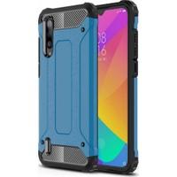 Herdem Xiaomi Mi 9 Lite Kılıf Çift Katmanlı Zırh Tam Koruma Mavi