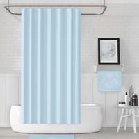 Jackline Polyester Kumaş Banyo Perdesi Duş Perdesi + Askı Aparatı Plastik C-Halka Mavi