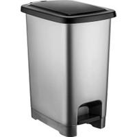 Şenyayla 4284 Slim Pedallı Plastik Çöp Kovası Siyah Kapaklı 60 lt