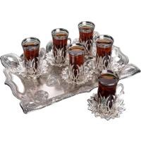 Busem Ahsen Tepsili Lale Desenli Çay Takımı 6 Kişilik 19 Parça Gümüş Renkli