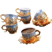Busem Ahsen Mavi Desenli 6 Kişilik Türk Kahve Seti 18 Parça Altın Renkli