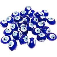 Platin Delikli Plastik Oval Mavi Renkli Nazar Boncuk 100 g 14 mm