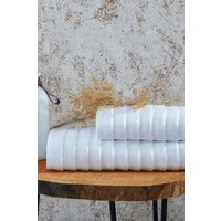 Laura Bella Laodikya 2'li Banyo Havlu Seti Beyaz