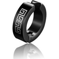 VipBT Yunan Anahtarı Motifli Paslanmaz Titanyum Çelik Deliksiz Sıkıştırmalı Kıskaçlı Erkek Küpe