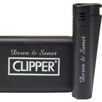 Clipper Isme Özel Pürmüz Alevli Metal Çakmak Mat Siyah