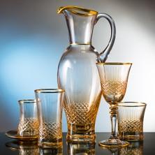 Kcd Cam Dekor Di̇zayn Antik Sarı 61 Parça Su Takımı