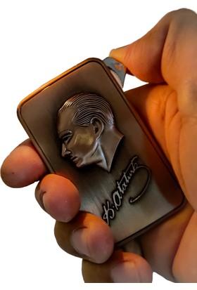 Platin Atatürk Resim Logolu Metal Ateşli Çakmak
