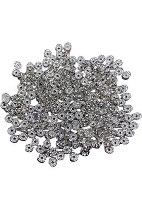 Platin Gümüş Renk Metal Delikli Cam Taşlı Rondela Boncuk 200'lü 4 mm