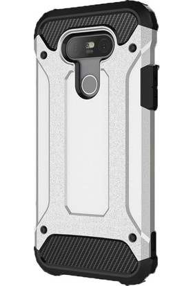 Herdem LG G5 Kılıf Çift Katmanlı Zırh Tam Koruma Gümüş
