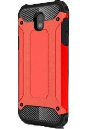 Herdem Samsung Galaxy J3 Pro (J330)KILIF Çift Katmanlı Zırh Tam Koruma Kırmızı