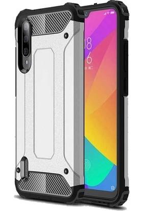 Herdem Xiaomi Mi 9 Lite Kılıf Çift Katmanlı Zırh Tam Koruma Gümüş