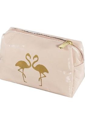 Yamamiya Flamingo Desenlik Makyaj Çantası Kalem Kutusu Pudra