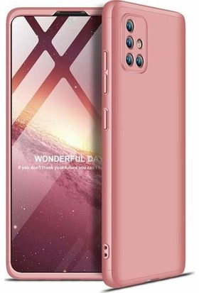 Kılıfist Samsung Galaxy A71 Kılıf Zore 360 Tam Koruma 3 Parça Ays Kapak Rose Gold