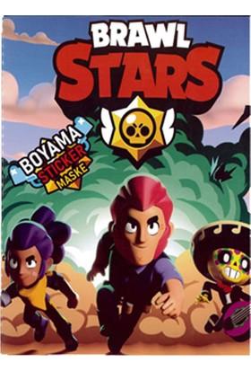 Brawl Stars Boyama Kitabı 3'lü 26 Adet Sticker 1 Adet Maske + Rozet