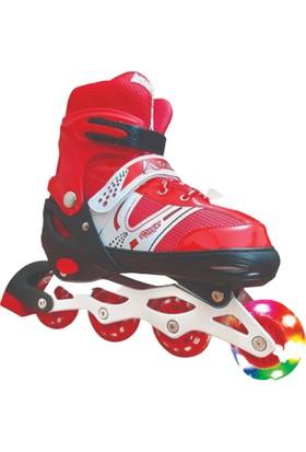 Triathlon T144 Işıklı Paten 38 - 41 Kırmızı
