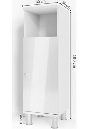 Taç Dekorasyon Tek Kapaklı Yer Banyo Dolabı Beyaz
