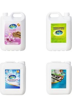 Ariox Sıvı El Sabunu + Çamaşır Suyu + Bahar Kokulu Yoğum Kıvamlı Çamaşır Suyu + Mutfak Yoğun Kıvamlı Kir Sökücü