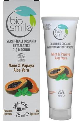 Biosmile Organik Sertifikalı Beyzlatıcı Diş Macunu Papaya-Nane-Aloe Vera 75 ml