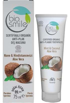 Biosmile Organik Sertifikalı Anti-Plak Diş Macunu Hindistancevizi-Nane-Aloe Vera 75 ml