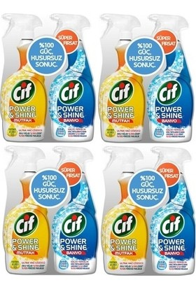 Cif Power Shine Sprey Mutfak 750 ml + Banyo 750 ml 4'lü Set