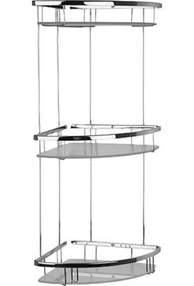Mabello Camlı Üç Katlı Banyo Köşe Rafı Oval Paslanmaz 20 x 20 cm