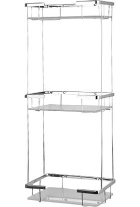Mabello Camlı Üç Katlı Kare Banyo Duş Rafı Paslanmaz 22 x 15 cm