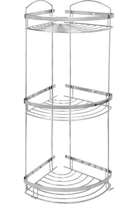 Mabello Duş Rafı Dalga Model Paslanmaz 3 Katlı 22 x 22 cm