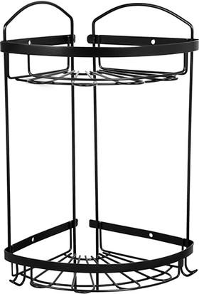 Mabello Siyah İki Katlı Banyo Köşe Rafı Paslanmaz 20 x 20 cm