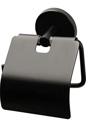 Mabello Siyah Tuvalet Kağıtlığı Kapaklı Paslanmaz
