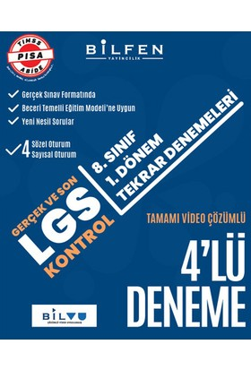 Bilfen Yayınları Gerçek ve Son LGS Kontrol 8.Sınıf 1.Dönem Tekrar Denemeleri 4'lü Deneme