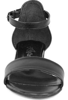 Ayfu 0017 Siyah Cilt 3 cm Topuklu Yazlık Kadın Sandalet