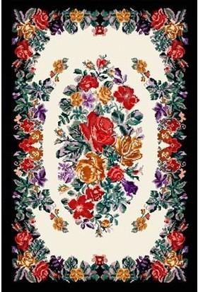 Halı Special Siyah Beyaz Çiçek Desenli Yıkanabilir Ince Kilim - HB2020 77 x 150 cm