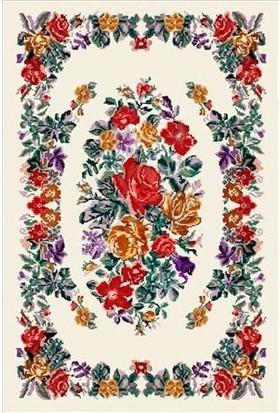Halı Special Çiçek Desenli Beyaz Yıkanabilir Ince Kilim - HB2021 77 x 150 cm