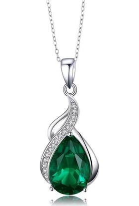 Enes Store Pırlanta Model Zümrüt Yeşili Zirkon Taşlı Gümüş Kolye
