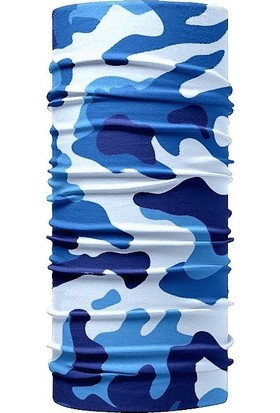 Kokostüm Mavi Kamuflaj Desenli Dikişsiz Tüp Bandana