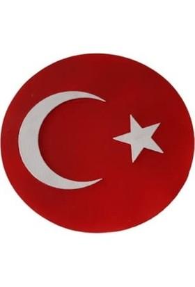 Dimaxa Dekoratif Söve Türk Türkiye Bayrağı Oval 60 x 60 cm